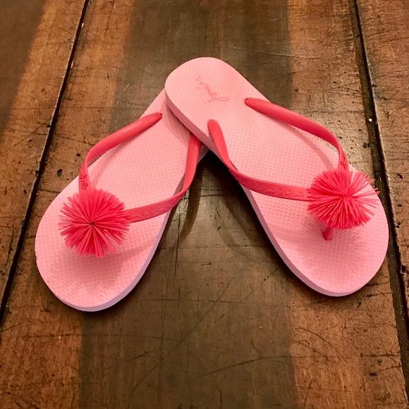 Joules Shoes | Pink Pom Pom Flip Flops